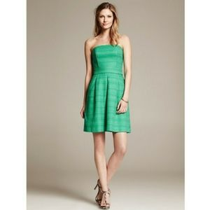 Banana Republic Green Woven Strapless Dress Size 6